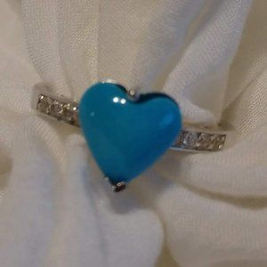 Beautiful Turquoise & Crystal Sterling Silver Ring